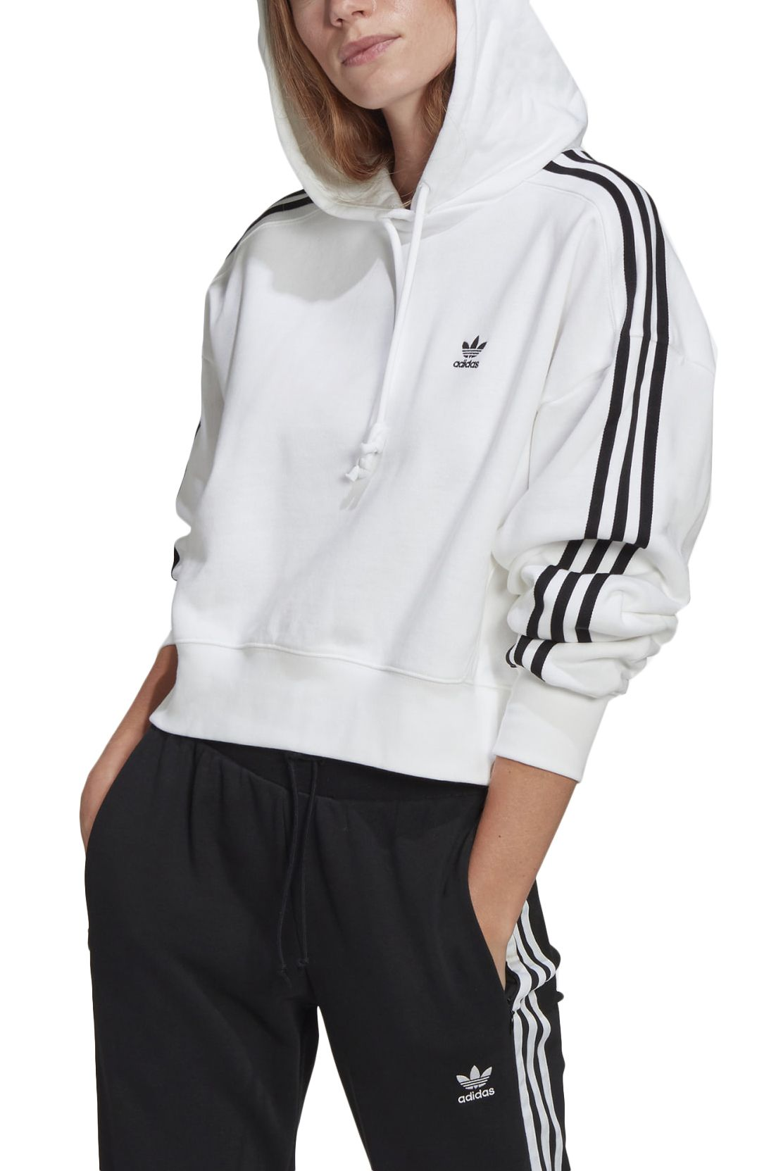 Sweat Capuz Adidas SHORT HOODIE White