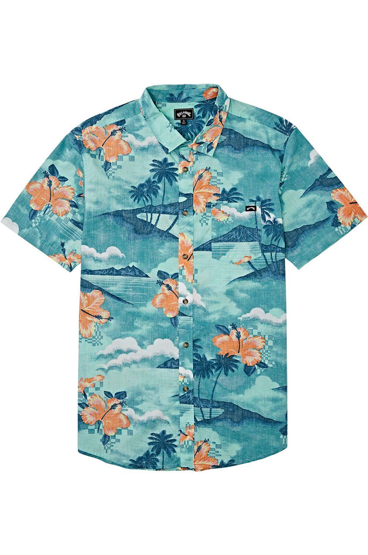 Camisa Billabong SUNDAYS FLORAL SS Aqua Blue