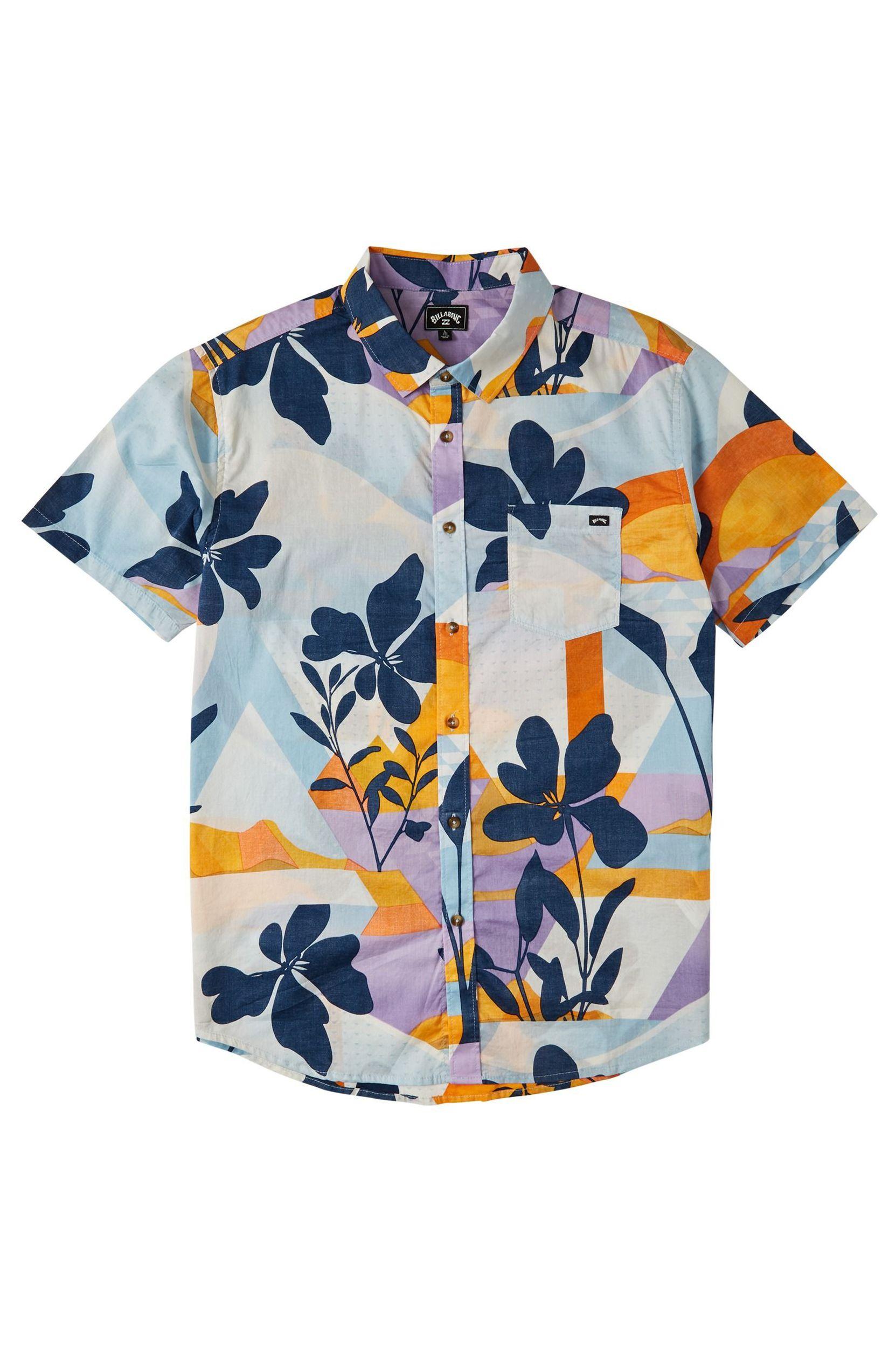 Billabong Shirt SUNDAYS FLORAL SS EXPRESSION SESSION Sky Blue
