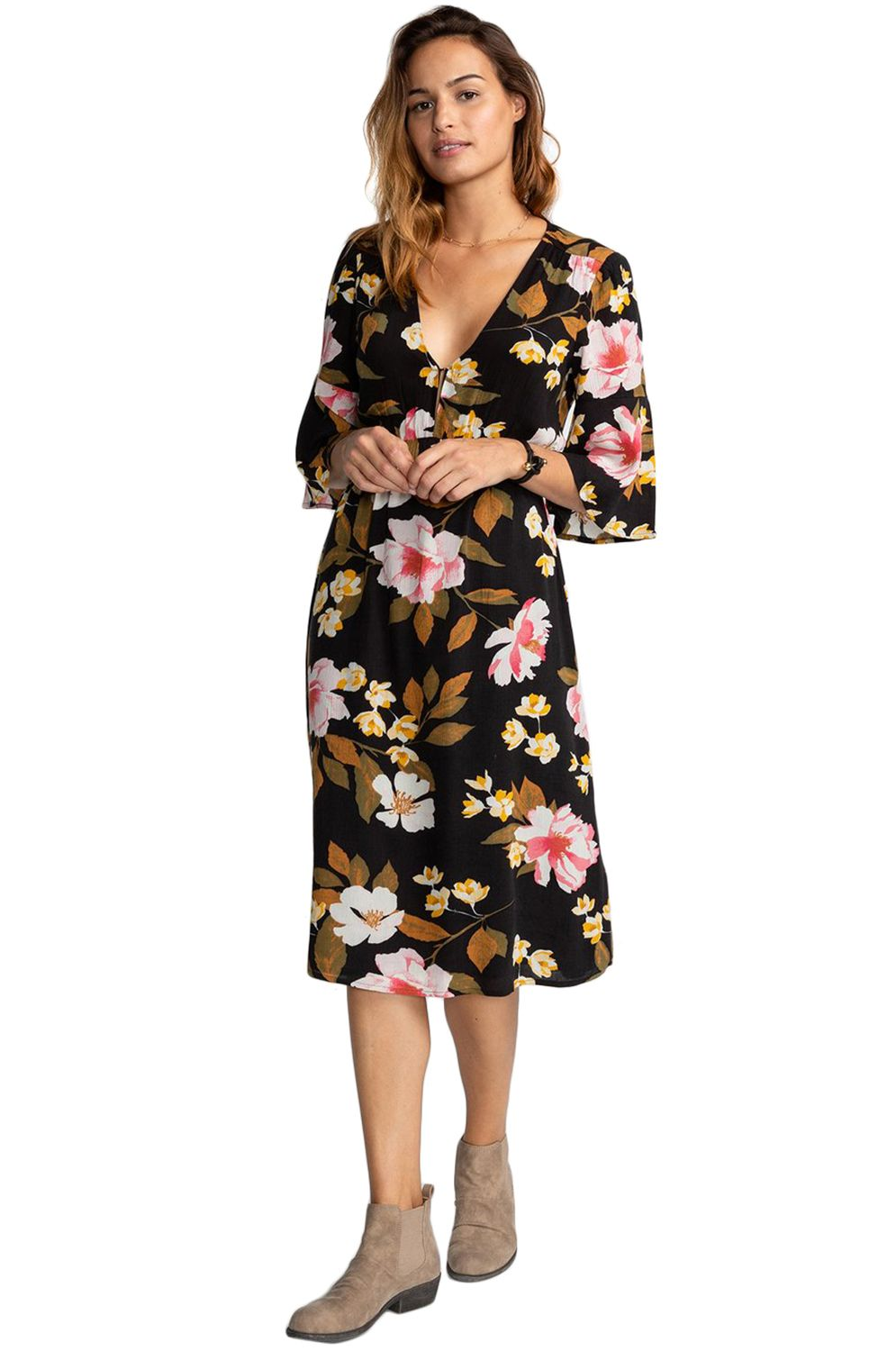 Billabong Dress DREAM BIG Black Flower