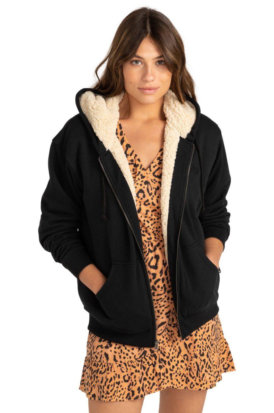 Billabong Coat COMFTY SHERPA COASTAL LOVE LETTERS Black