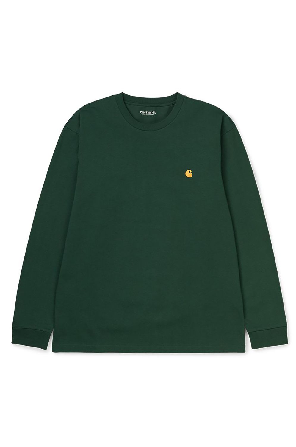 L-Sleeve Carhartt WIP L/S CHASE T-SHIRT Bottle Green/Gold
