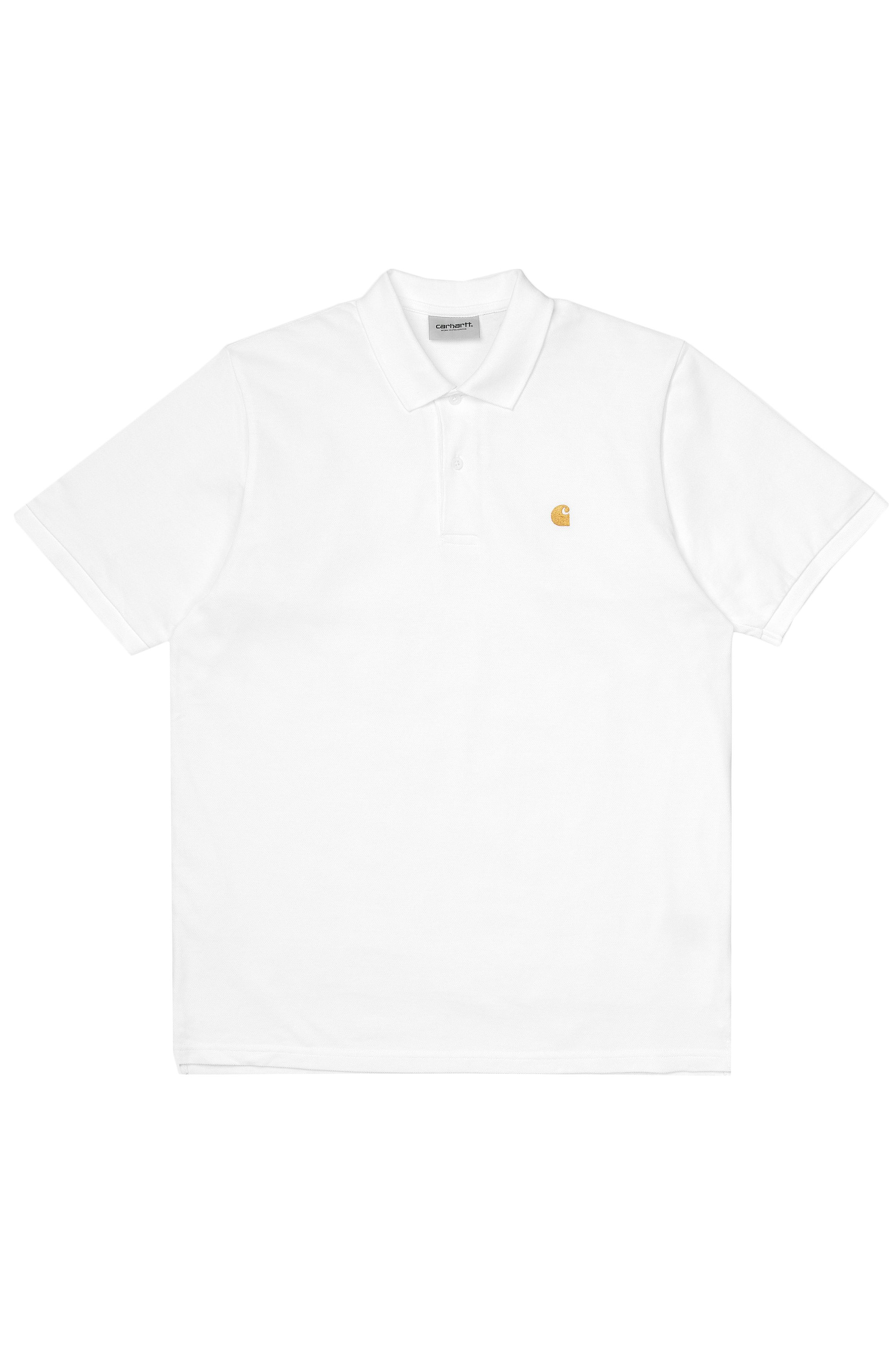 Polo Carhartt WIP S/S CHASE PIQUE POLO White/Gold