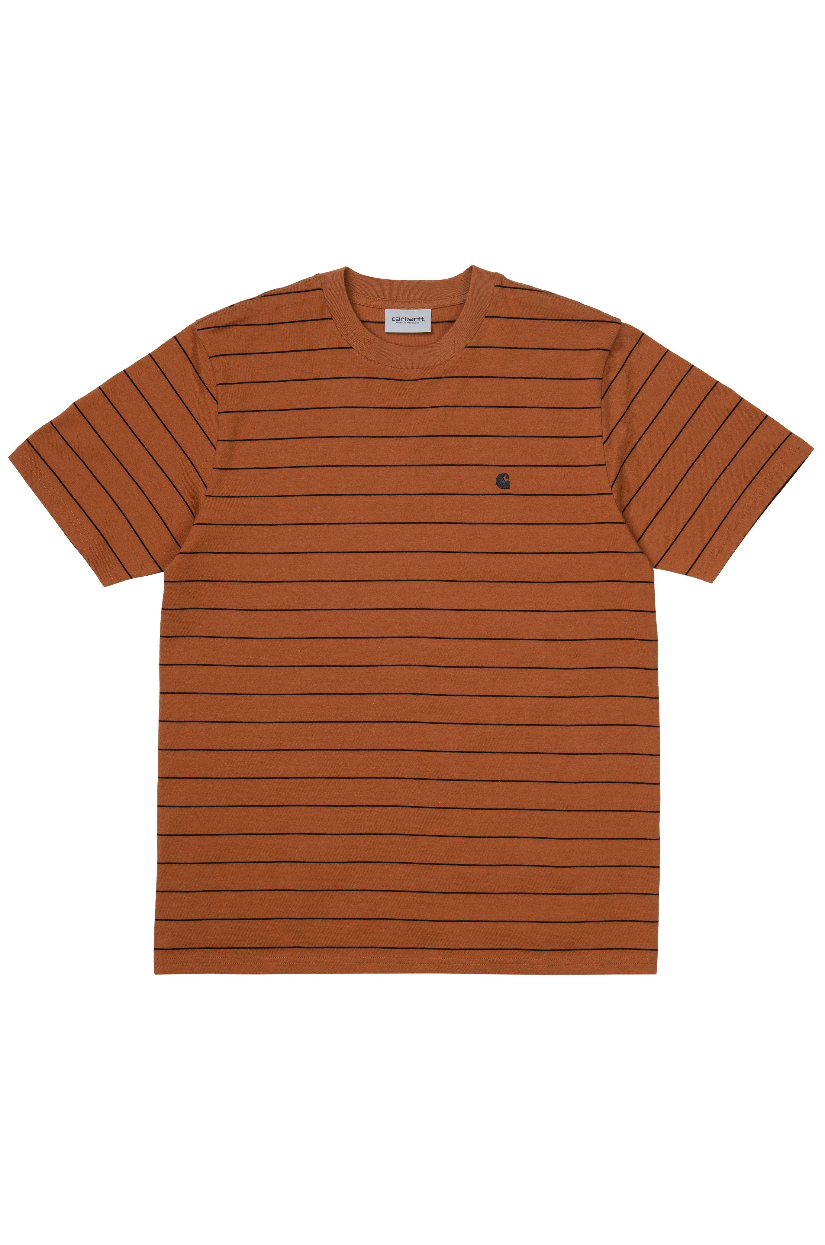 T-Shirt Carhartt WIP S/S DENTON T-SHIRT Denton Stripe, Rum/Black