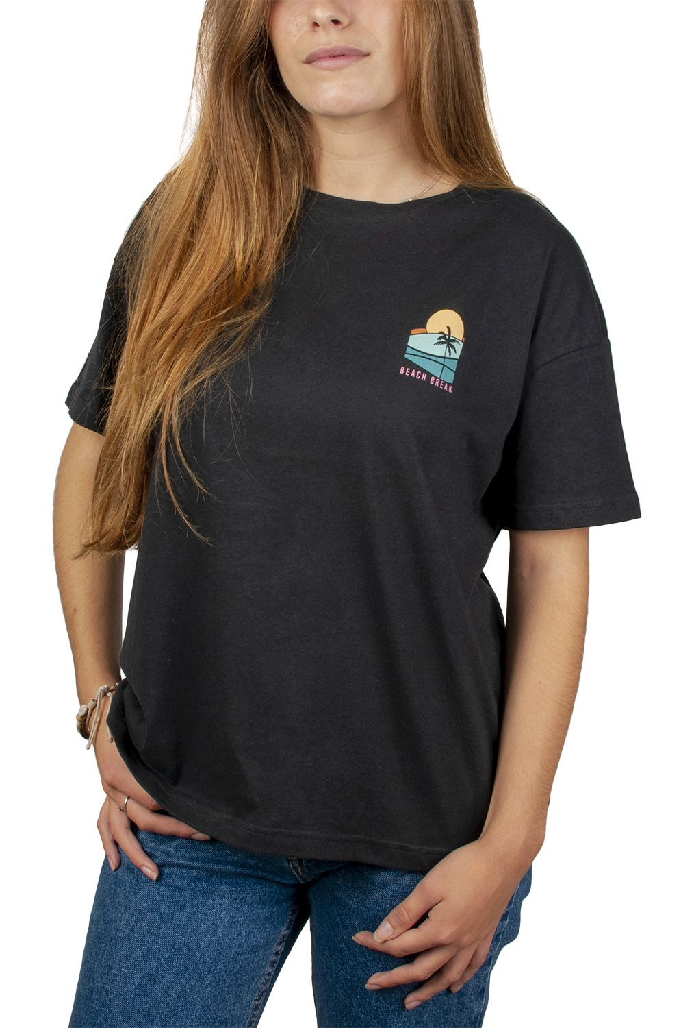 Ericeira Surf Skate T-Shirt BEACH BREAK Off Black