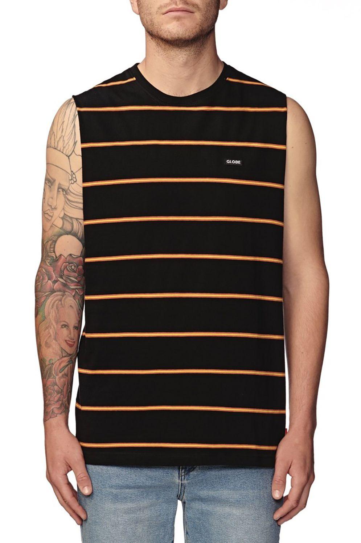 Globe T-Shirt Tank Top MOONSHINE STRIPE MUSCLE Black