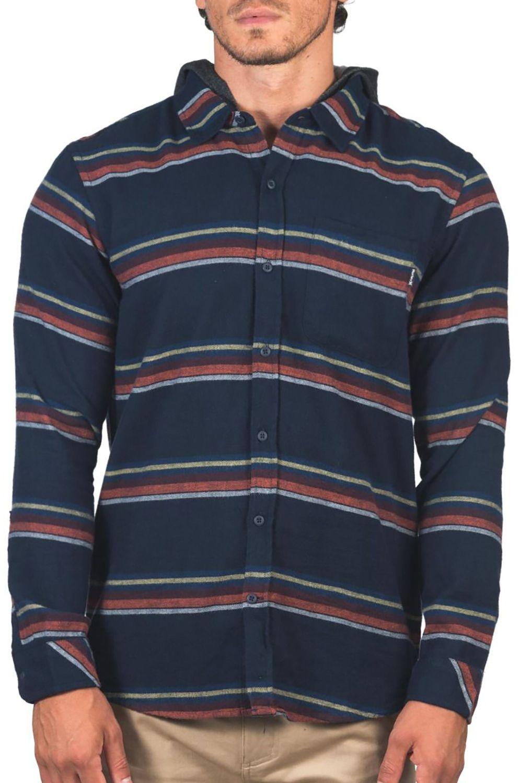 Camisa Hurley M PORTLAND STRIPE FLANNEL HOOD Obsidian