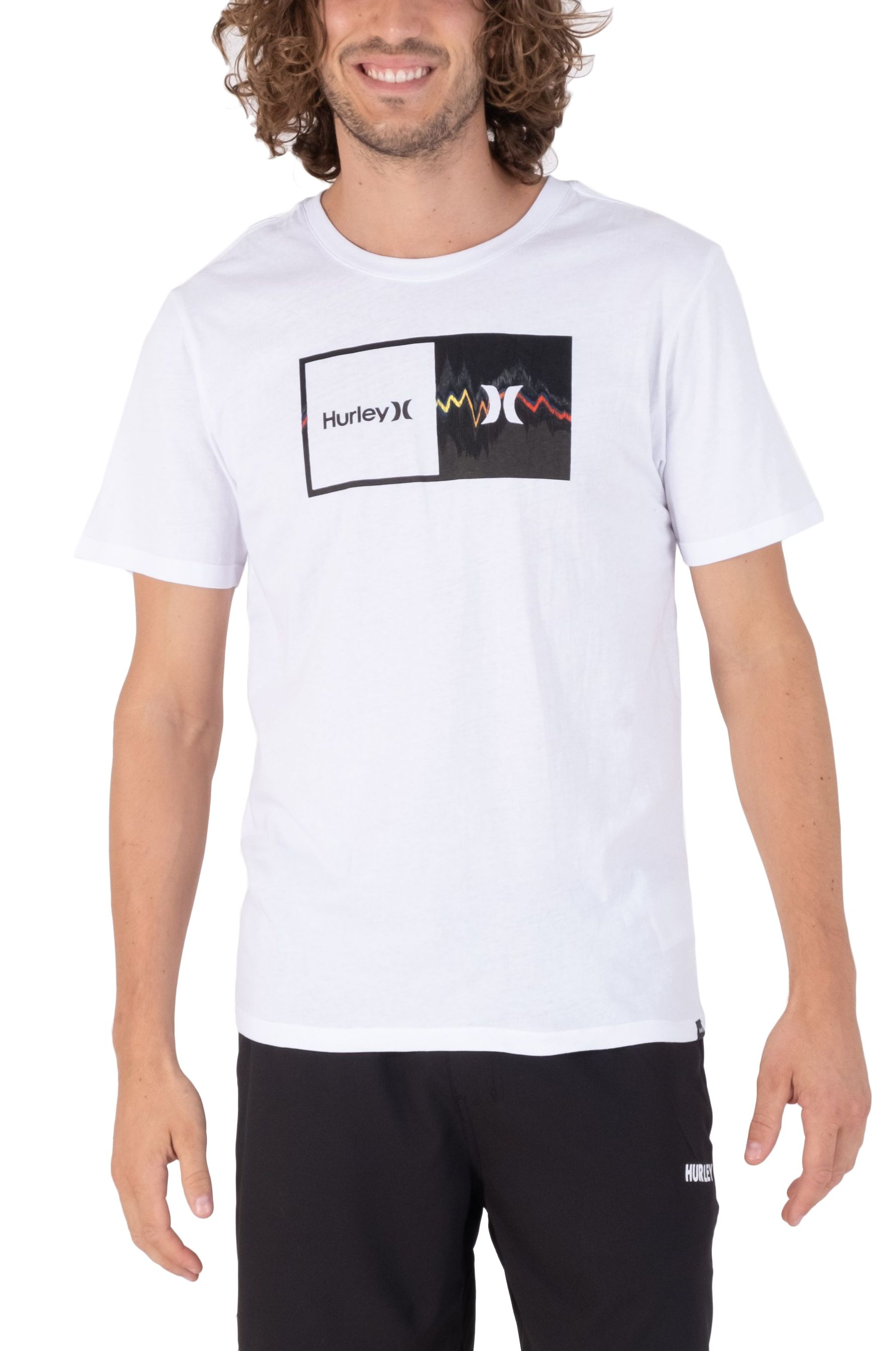 Hurley T-Shirt M EVD WSH DOUBLE UP GLITCH SS White