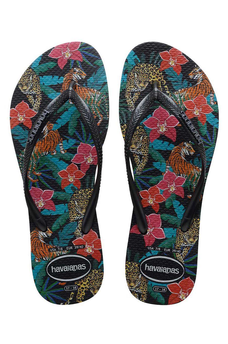 Havaianas Sandals SLIM TROPICAL Black/Dark Grey Metallic