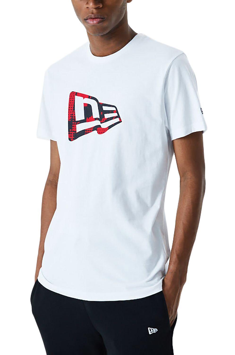 New Era T-Shirt NE ESSENTL FLAG INFILL TEE White/Cyr