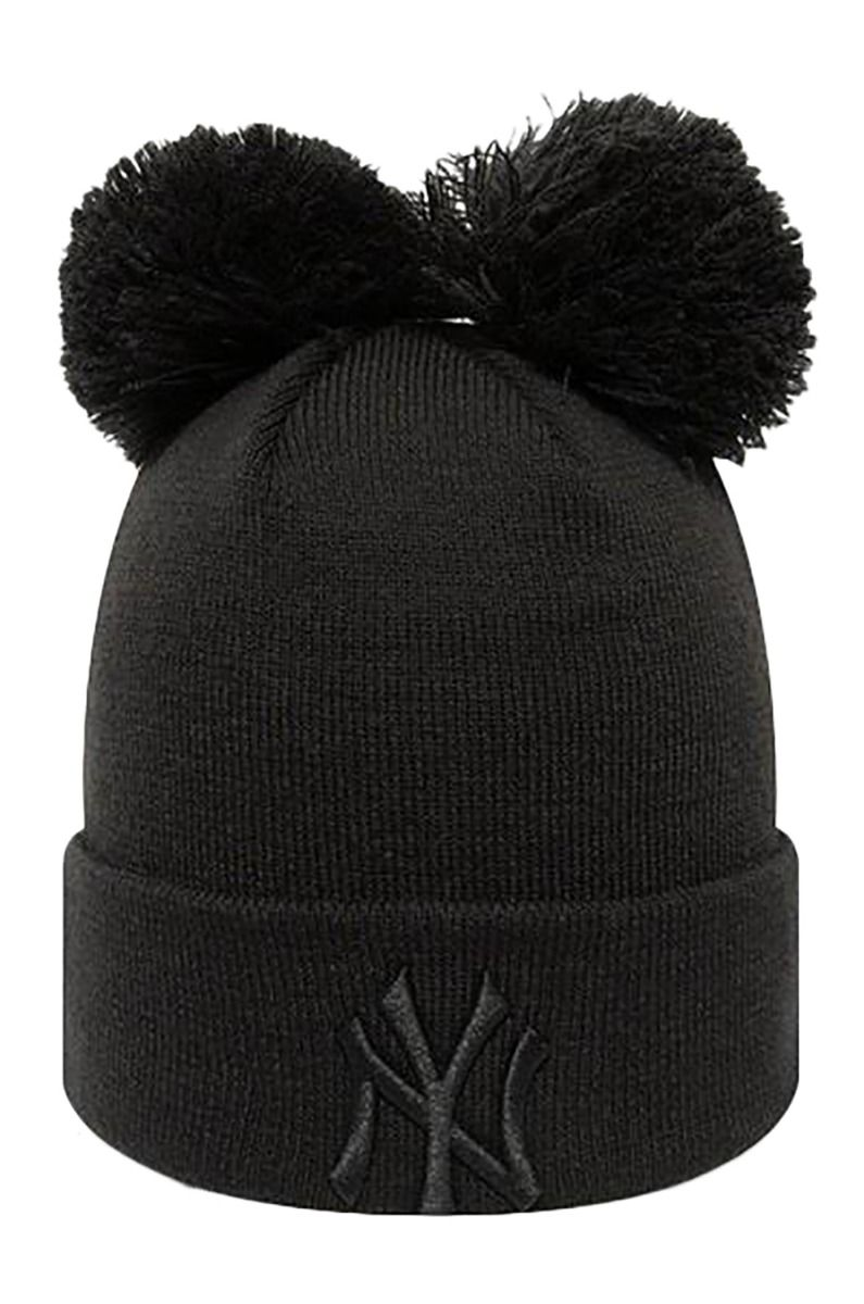 New Era Beanie FEMALE DOUBLE POM CUFF KNIT Black/Black