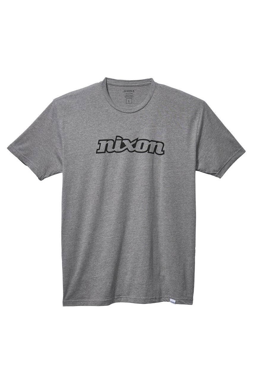 T-Shirt Nixon OG SCRIPT S/S ECO TEE Dark Heather Gray/Black