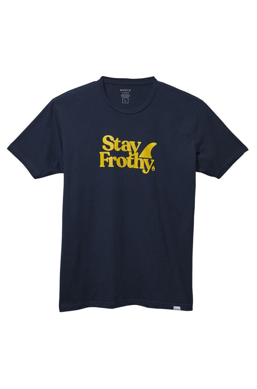 Nixon T-Shirt STAY FROTHY S/S TEE Navy/Yellow