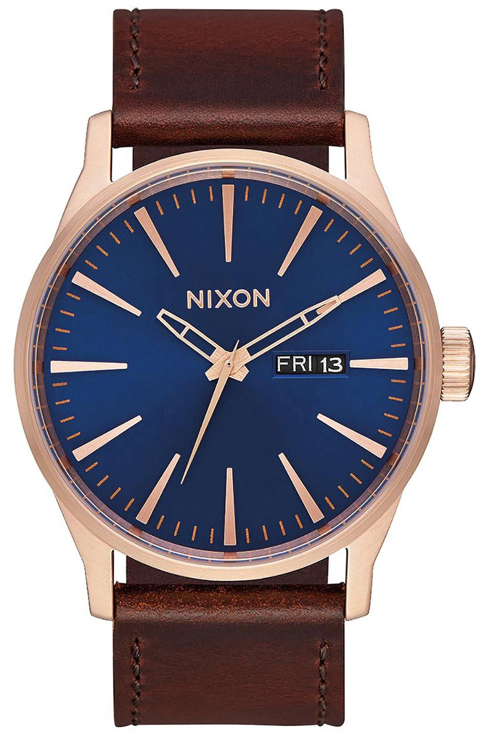 Nixon Watch SENTRY LEATHER Rose Gold/Navy/Brown
