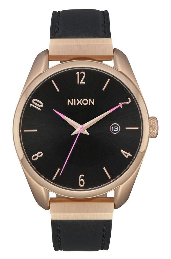Nixon Watch Bullet Leather Luxe Rose Gold/Black