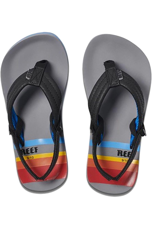 Reef Sandals LITTLE AHI Grey Pinstripes