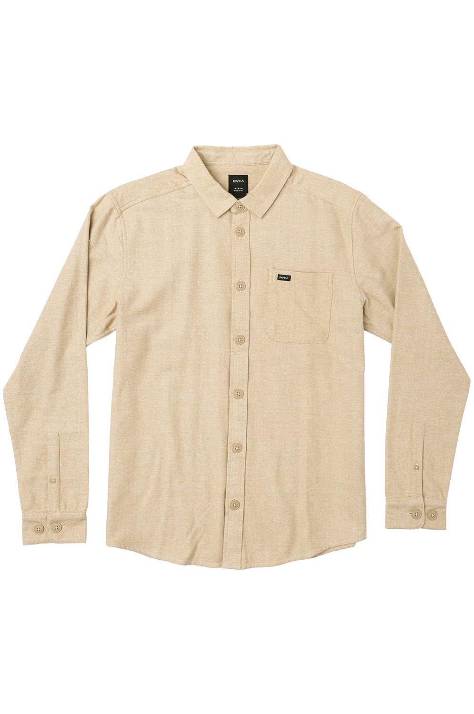 RVCA Shirt BLACK SAND FLANNEL L Dust Yellow