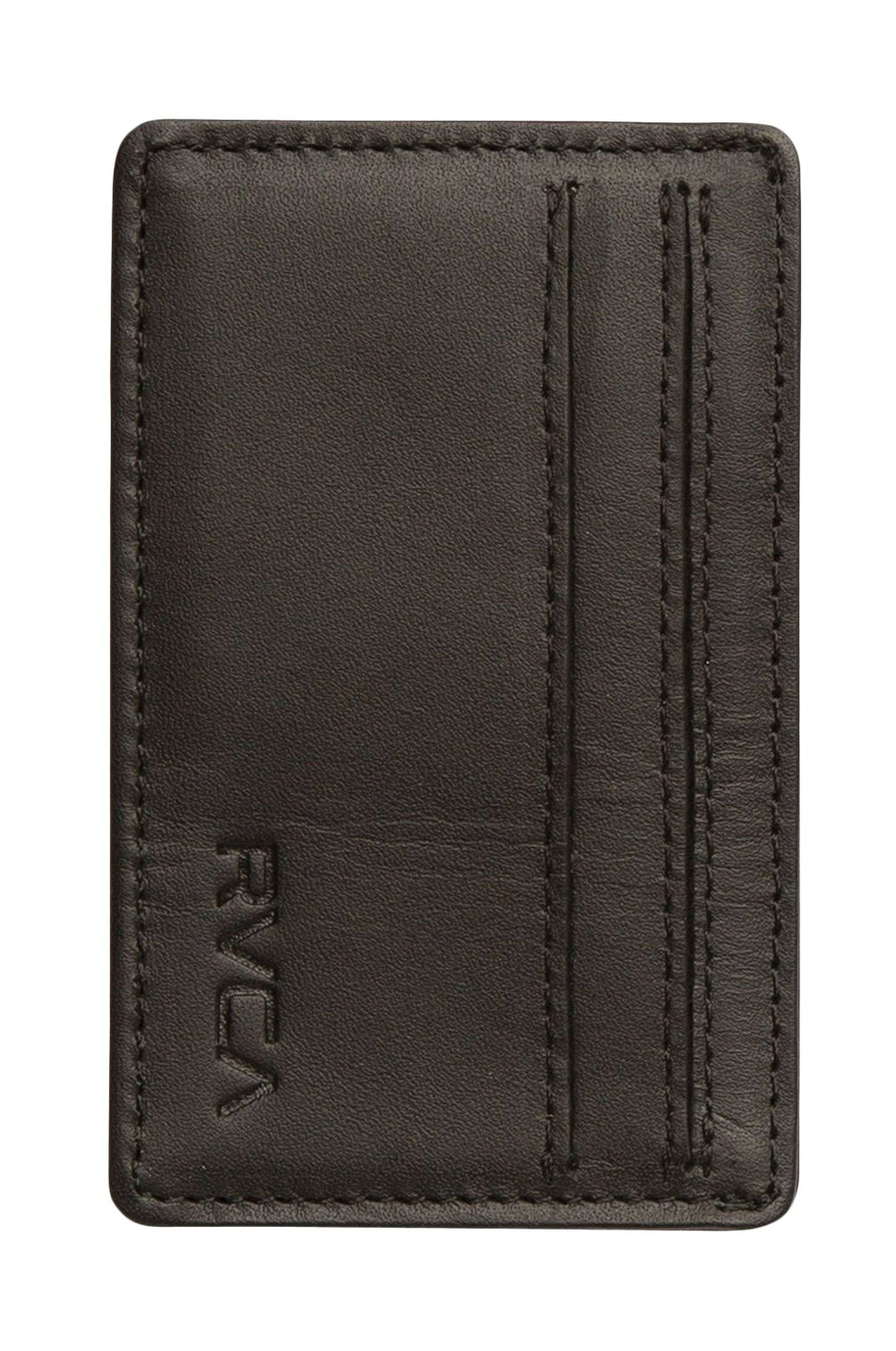 RVCA Leather Wallet CLEAN CARD WALLET Black
