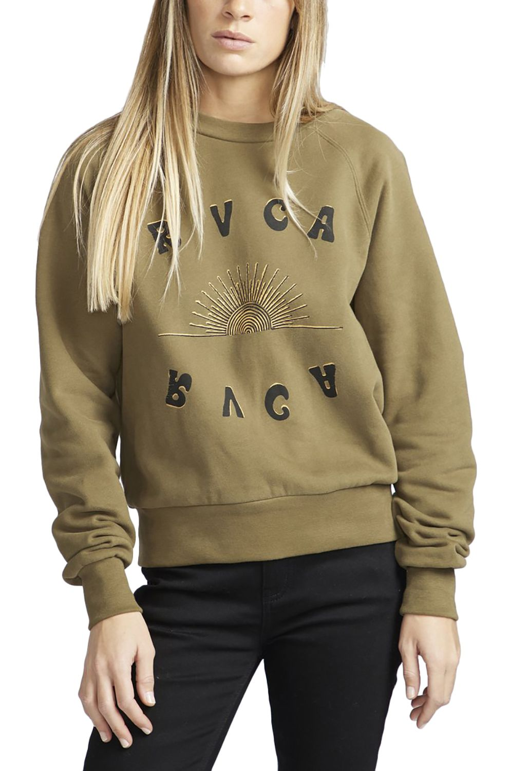 RVCA Crew Sweat SUNSHIEN Army Drab