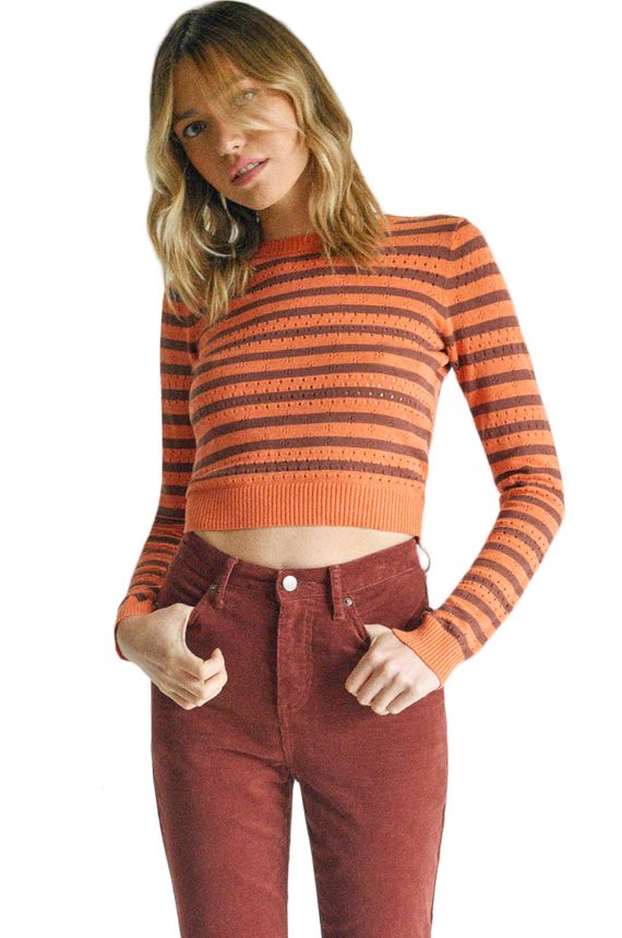 Camisola RVCA PARIS POINTELLE SWEA CAMILLE ROWE Spiced Coral