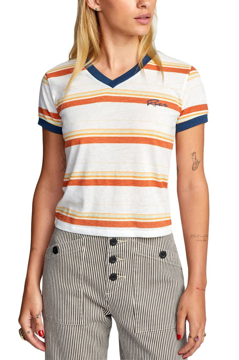 T-Shirt RVCA BIG DISTANCE STRIPE Vintage White