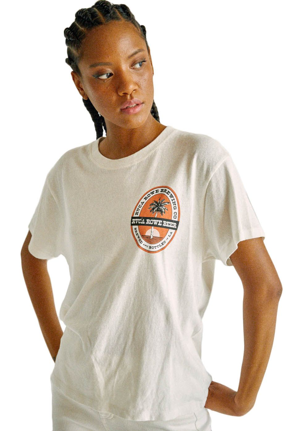 T-Shirt RVCA ROWE BREWING TEE CAMILLE ROWE Vintage White