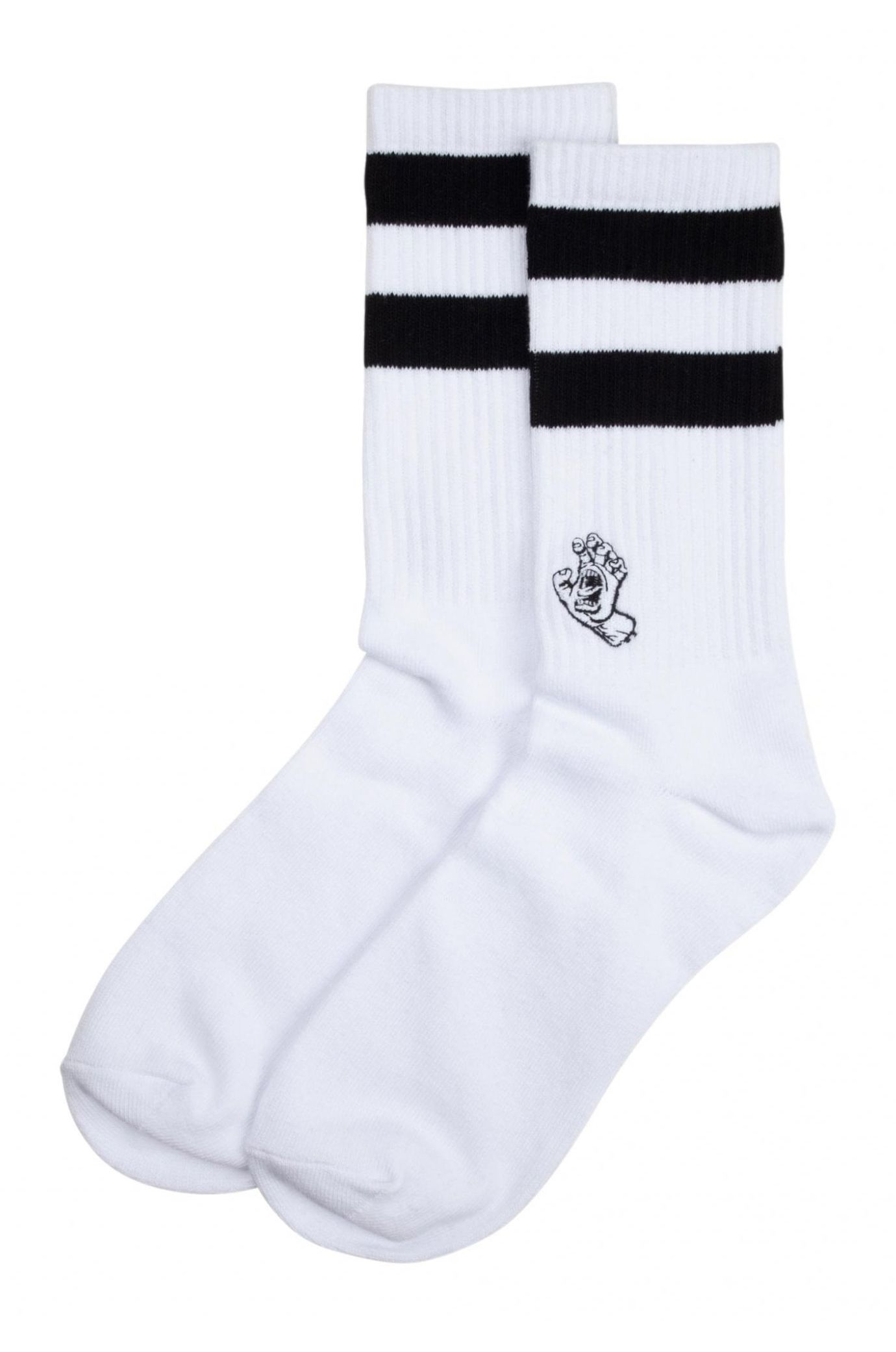 Santa Cruz Socks MINI MONO HAND TWIN STRIPE SOCKS White