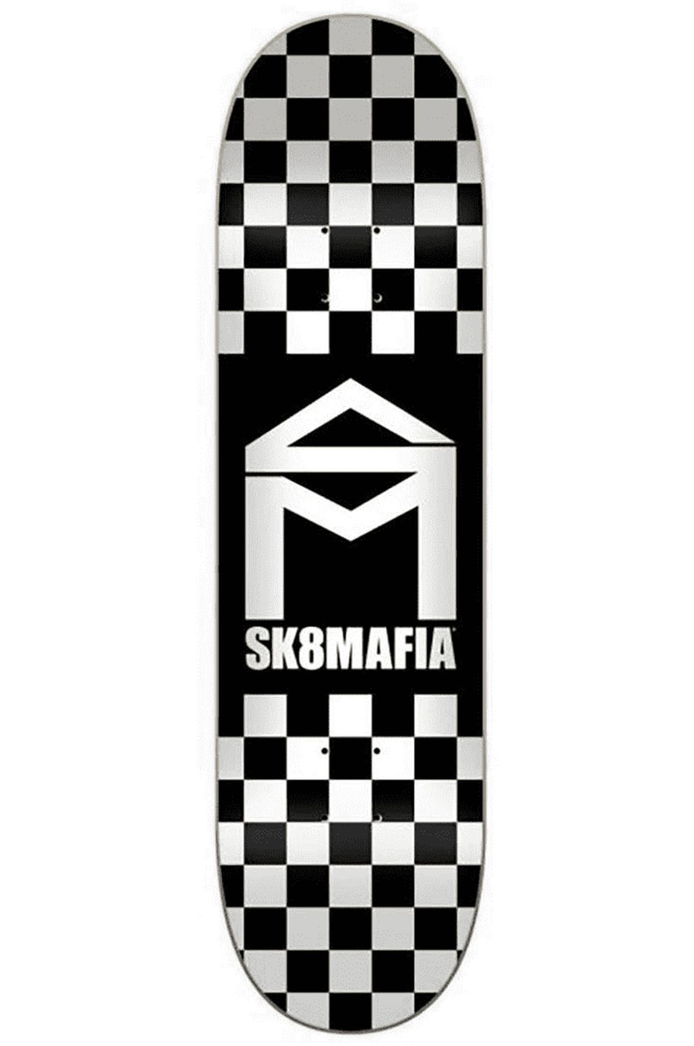 "Sk8Mafia Skate Board HOUSE LOGO CHECKER BLACK 8"" X 32"" Black"