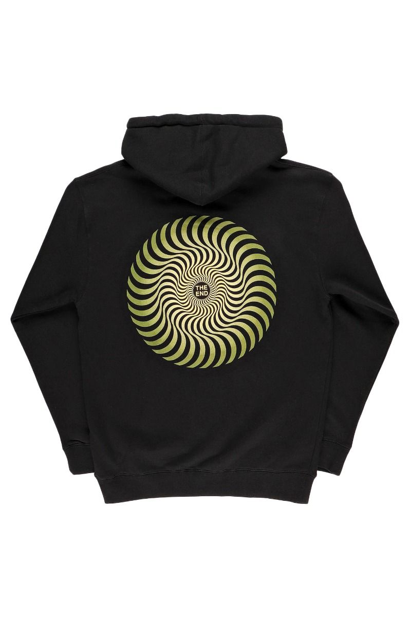 Sweat Capuz Spitfire CLASSIC SWIRL FADE Black W/ Olive & Yellow Prints