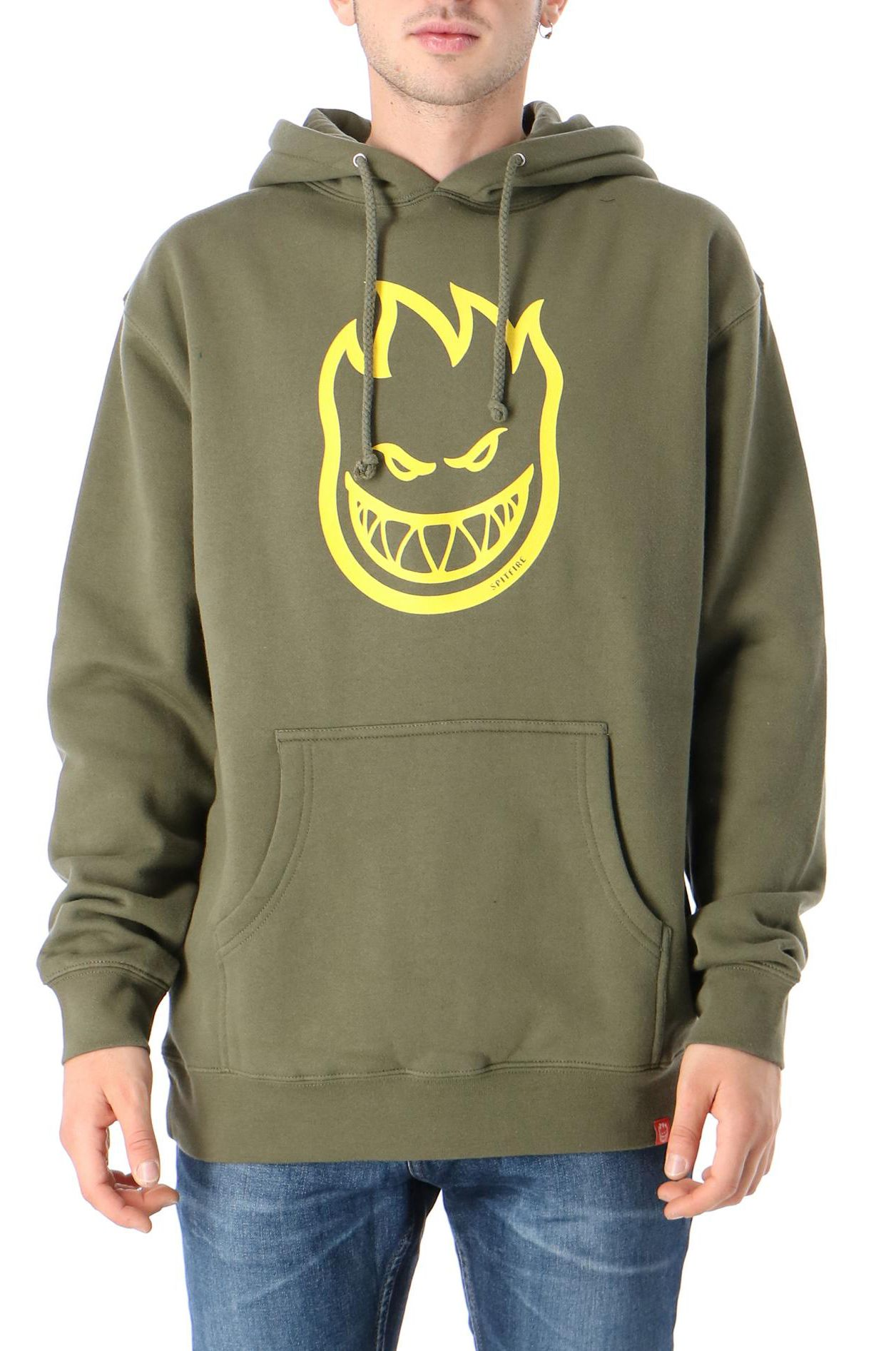 Sweat Capuz Spitfire BIGHEAD Army W/ Yellow Print