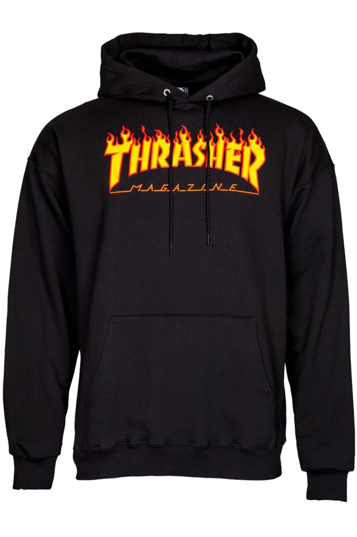 Sweat Capuz Thrasher FLAME LOGO Black