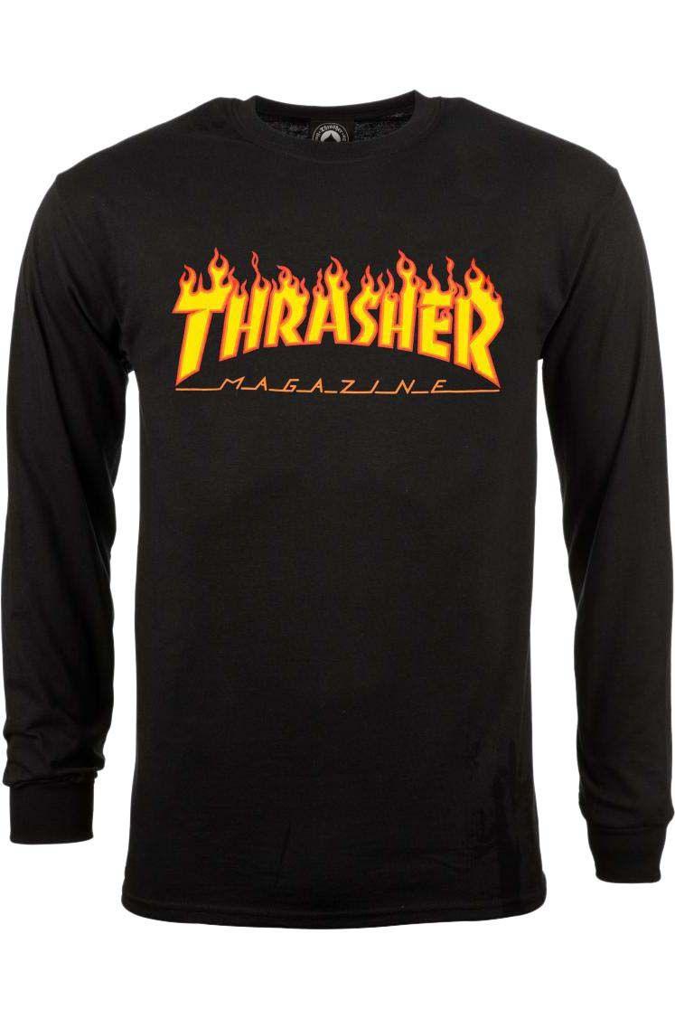 L-Sleeve Thrasher FLAME Black