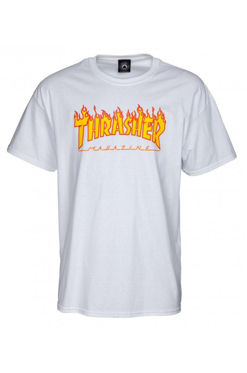 T-Shirt Thrasher FLAME LOGO White
