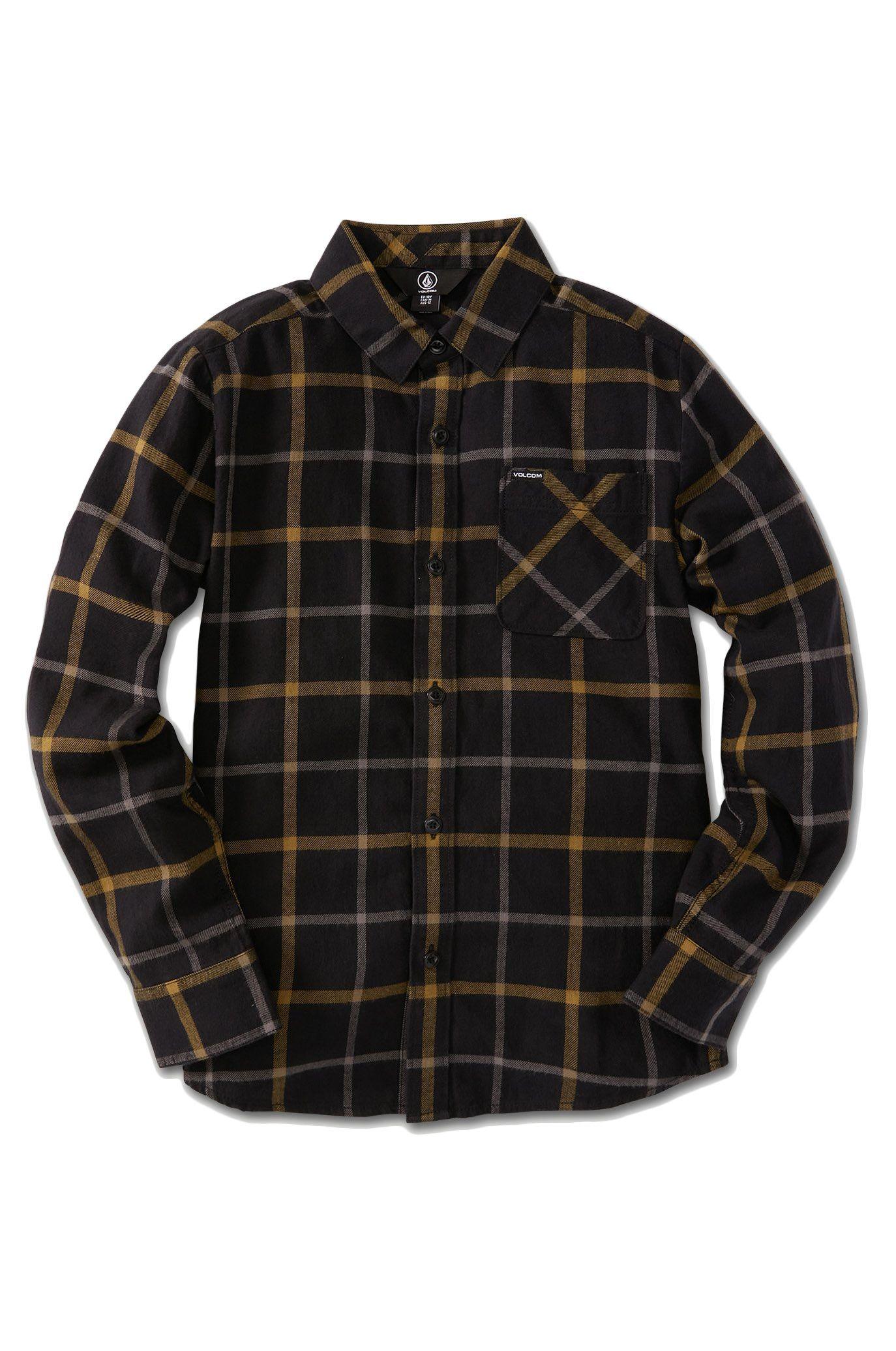 Volcom Shirt CADEN PLAID LS Black
