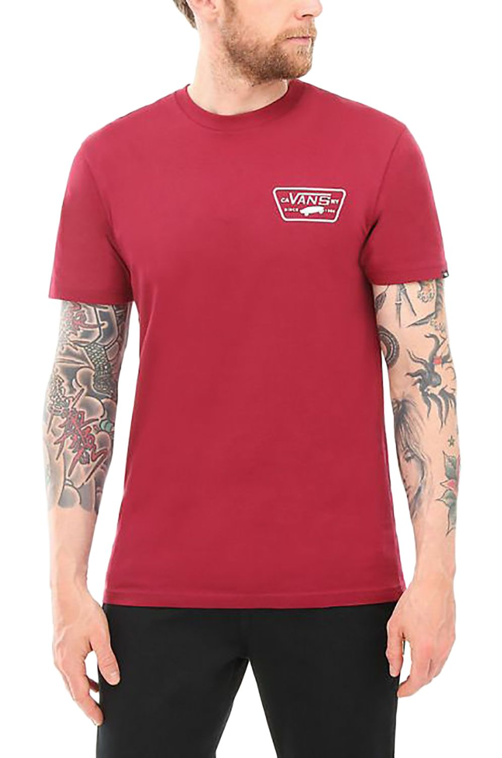 29d10679 Vans T-Shirt FULL PATCH BACK Rhumba Red/White