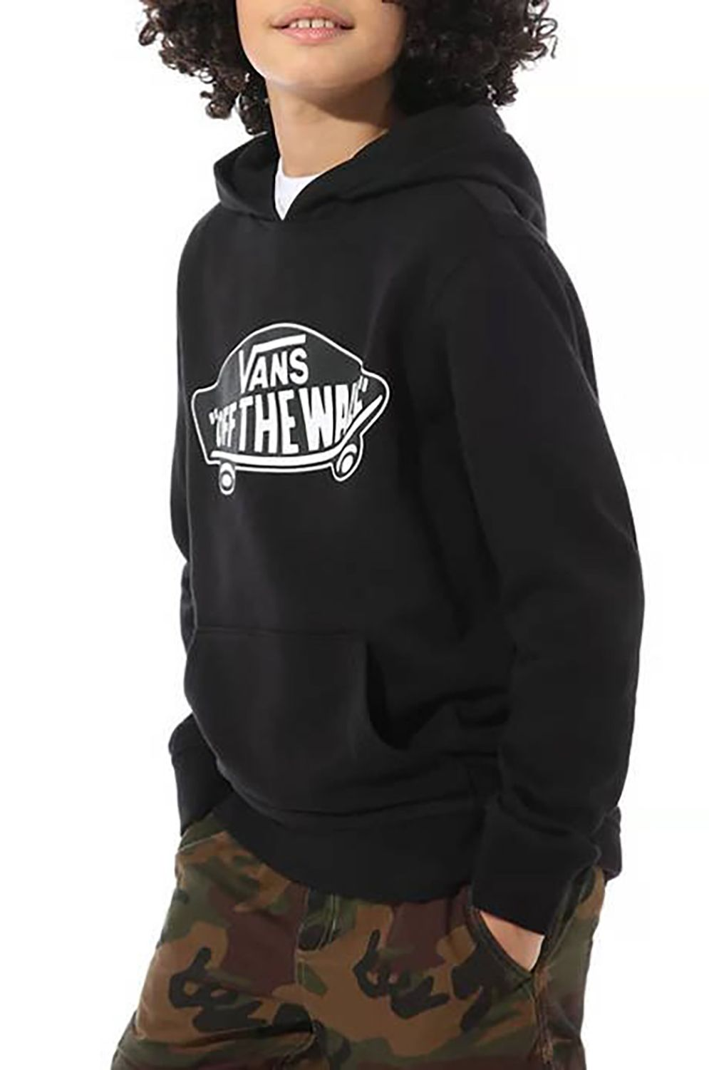 Sweat Capuz Vans OTW PULLOVER FLEECE BOYS Black-White Outline