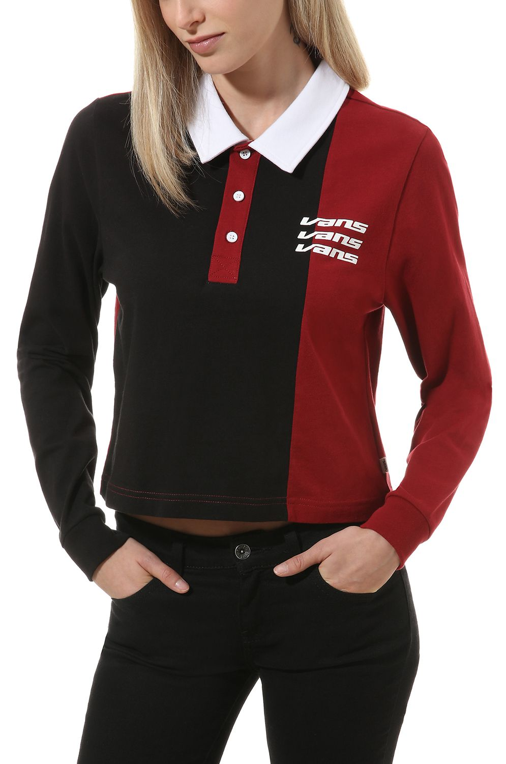 Vans Polo    SUPERSPEEDEE LS Black/Biking Red