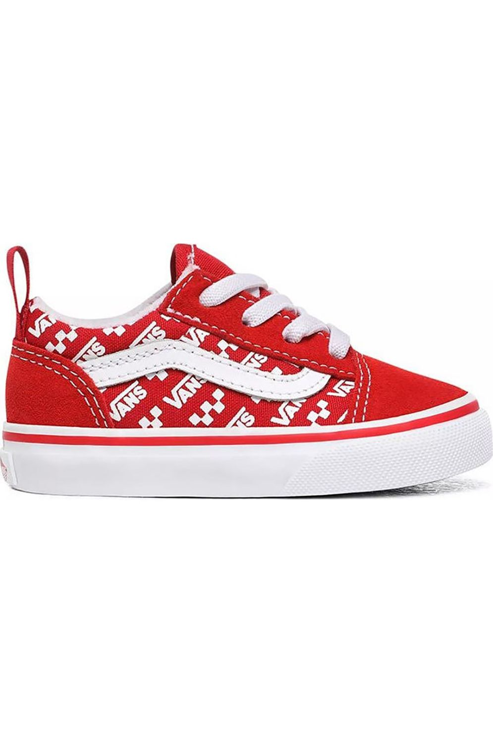 Vans Shoes TD OLD SKOOL ELASTIC LACE (Logo Repeat) Racing Red/True White
