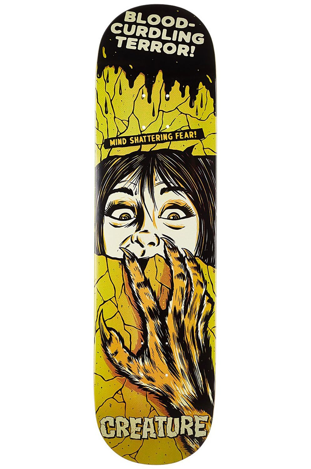 "Creature Skate Board HORROR FEATURE SM 8.25"" x 32"" Yellow"