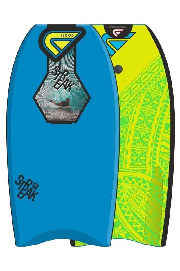 "Prancha Bodyboard Flood 39"" STREAK EPS Maori Blue/Fluo Yellow"