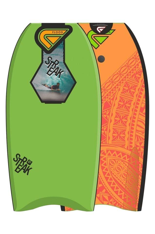 "Prancha Bodyboard Flood 41"" STREAK EPS Maori Lime/Fluo Orange"