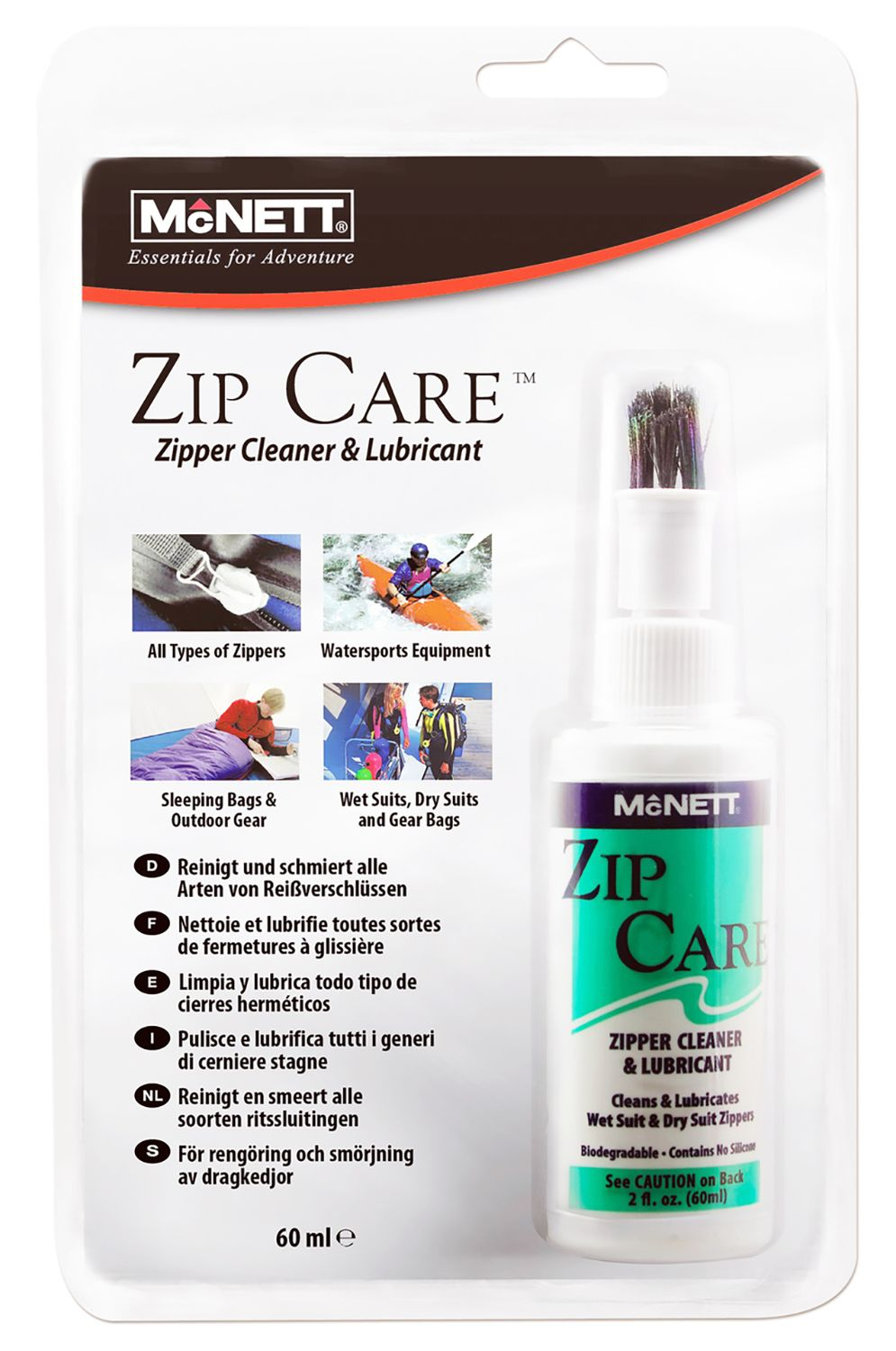 McNett Repair Kit ZIPPER CLEANER + LUBRICANT 60ML Assorted