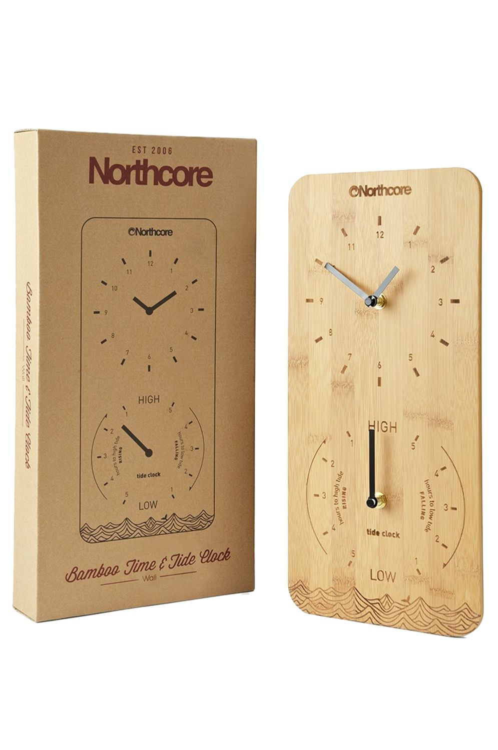 Northcore Watch WALL MOUNTED BAMBOO TIME AND TIDE Bamboo