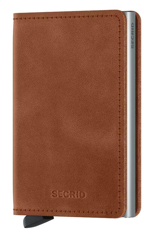 Secrid Leather Wallet SLIMWALLET VINTAGE Cognac/Silver