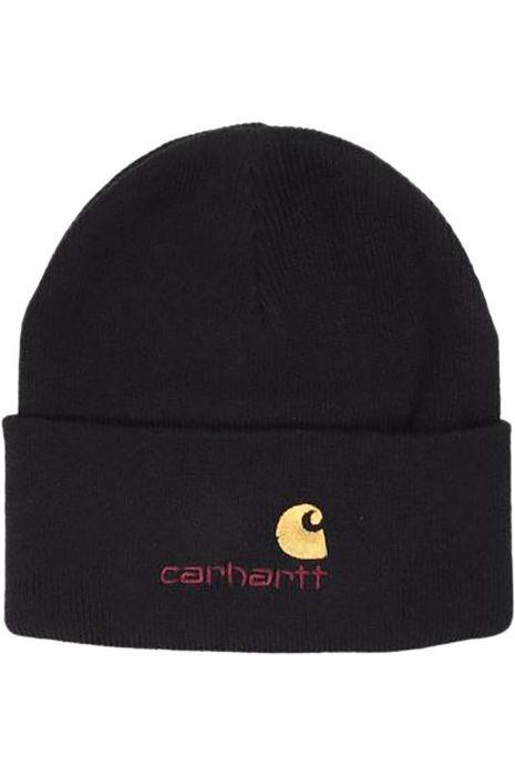 9460c6c115e6b Carhartt WIP Beanie AMERICAN SCRIPT Black