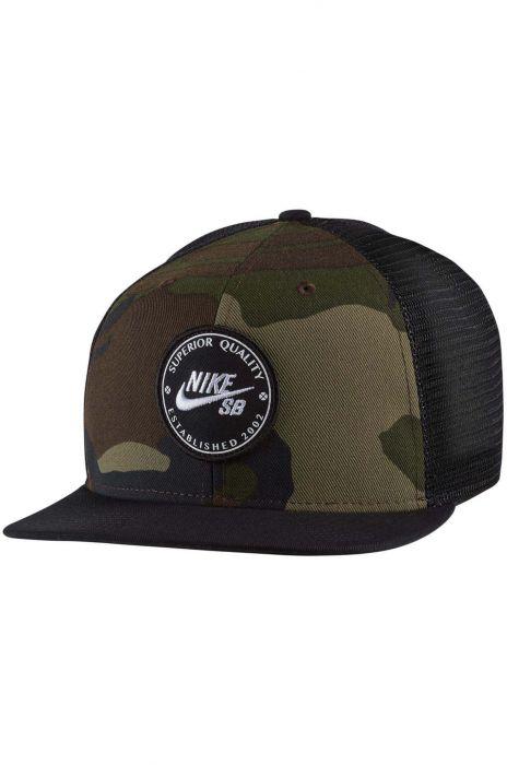 5528558eaa0 Nike Sb Cap PRO PATCH TRUCKER Medium Olive Black Black (Black) (Cf Camo)