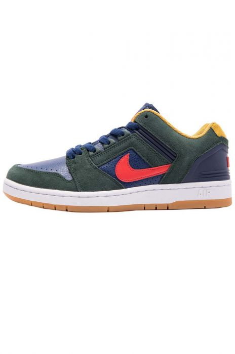 a3dea8f49476d Nike Sb Shoes AIR FORCE II LOW Midnight Green Habanero Red-Blue Void